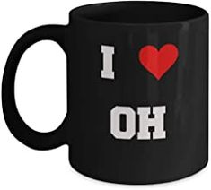 Ohio coffee mug, I Love Ohio OH Abbreviation USA States Ceramic Black Coffee Mug Tea Cup Gifts Mugs 11 oz Funny Mugs Romantic Gifts For Husband, Best Gift For Wife, Valentine Gift For Wife, Christmas Gifts For Husband, Birthday Gifts For Girlfriend, St Patrick's Day Gifts, Gifts For Coworkers, Gifts In A Mug, Gifts For Dad
