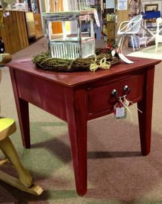 Blue gray nightend table Available by The Redneck Designers at the
