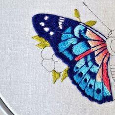 Morpho Butterfly Embroidery Hoop with Optional Fabric Colour Choice Crewel Embroidery Kits, Butterfly Embroidery, Hand Embroidery Patterns, Silk Ribbon Embroidery, Embroidered Butterflies, Blackwork, Creative Embroidery, Modern Cross Stitch Patterns, Blue Butterfly