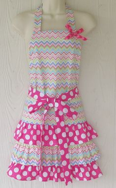 Ruffled Chevron Apron Cute Pink Polka Dots by KitschNStyle