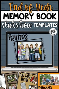 End of Year Slideshow Templates End Of School Year, 100 Days Of School, School Fun, School Stuff, School Recess, Class Presentation, End Of Year Activities, Classroom Activities, Memory Books
