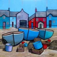 Paul Bursnall – Paintings for Sale Rows of houses above the quayside with fishing boats in the sea. Painted on box canvas with the image around the edges so that a frame is unnecessary. Ready to hang. Seaside Art, Naive Art, Silk Painting, Paintings For Sale, Art Techniques, Art School, Painting Inspiration, Art Lessons, Home Art