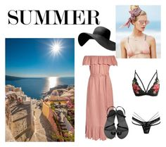 """""""honey moon in santorini"""" by megakus on Polyvore featuring Marysia Swim, Ancient Greek Sandals and Beach Riot"""