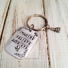 Hand Stamped Key Chain - Imagine Believe Achieve - Graduation - Graduation gift  - Graduation Keychain - pinned by pin4etsy.com