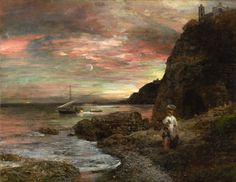 Abendsonne am Posillipo, Oswald Achenbach. Germany (1827 - 1905)