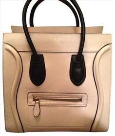 Celine Mini Luggage Beige  Black Piping Tote Bag $1,707