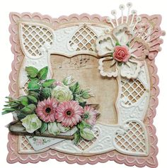 LR0242 - Marianne design - Handmade Card using Marianne Creatables Design Dies LR0242 Anja's Square Set includes the flower die also, LR0228 Anja Leaves 3