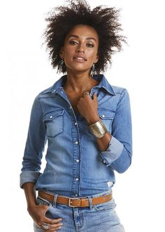 Skjorte denim 217M-551 Dress Up Shirt - mid blue