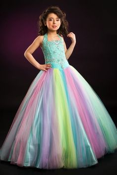 Rainbow Tulle Perfect Angels Girls Pageant Dress 1366 by Party Time at frenchnovelty.com