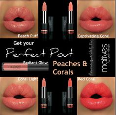 Motives Cosmetics order yours www.motivescosmetics.com Coral and Peach Lip colors