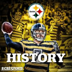 QB Ben Roethisberger became only the QB to reach 100 wins in 150 starts or less. Plus, he thew for 522 yards (Steelers Team Record) and 6 Touchdowns! Here We Go Steelers, Best Football Team, Steelers Football, Football Fans, Steelers Stuff, Super Bowl, Heinz Field, Nfl History, Pittsburgh Sports