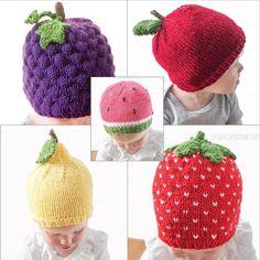 Fruit salad hats 5 knitting pattern bundle / knitted fruit hat / fruit b Baby Hat Knitting Pattern, Baby Hats Knitting, Knitted Hats, Crochet Hats, Free Knitting, Baby Shower Fruit, Baby Fruit, Baby Patterns, Knit Patterns