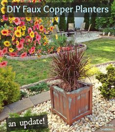 DIY Faux Copper Patina Planters: an Update! - An update on how my Faux Copper Planter Boxes held up after four months (during Winter) outdoors! [media_id:694724…
