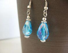 Aqua Blue Tear Drop Earrings