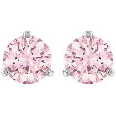 Swarovski Solitaire Pierced Earrings (895 ZAR) ❤ liked on Polyvore featuring jewelry, earrings, accessories, brincos, bijoux, sparkle jewelry, pink earrings, swarovski jewelry, pink jewelry and swarovski jewellery