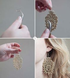 DIY Earrings and Homemade Jewelry Projects - Lace Earrings - Easy Studs, Ideas with Beads, Dangle Earring Tutorials, Wire, Feather, Simple Boho, Handmade Earring Cuff, Hoops and Cute Ideas for Teens and Adults http://diyprojectsforteens.com/diy-earrings #studearringsdiywire