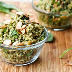 #Vegan #Pesto Brown #Rice Pilaf with Almonds makes for a simple yet healthy and delicious #sidedish #glutenfree too