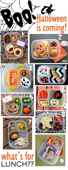 frighteningly extensive collection of Halloween themed lunches -- cute ideas f., A frighteningly extensive collection of Halloween themed lunches -- cute ideas f. Lunch Snacks, Healthy Snacks, Kid Snacks, Healthy Recipes, Kindergarten Lunch, Preschool Lunch Ideas, Kids Lunchbox Ideas, Kids Lunch For School, School Lunches