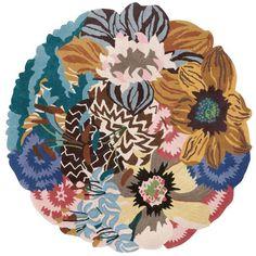 MISSONI HOME Rajamahal Wool Rug (2,902,055 KRW) ❤ liked on Polyvore featuring home, rugs, multi, wool rugs, circular rug, circular area rugs, round area rugs and wool area rugs