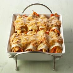 These creamy enchiladas, stuffed with chicken, onion, bell pepper strips and green chiles and topped with melted cheese, will turn dinner into a...