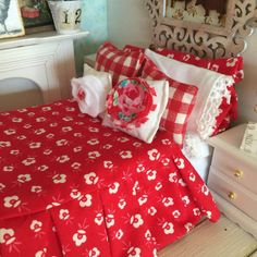 Farmhouse StyleBed and Red and White Ruffled by RibbonwoodCottage