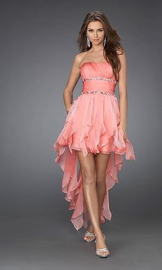 Orange strapless high low evening gown$0,normal price is $123.88