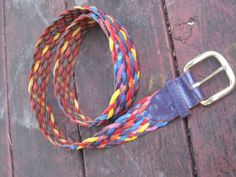 Vintage Colorful woven Leather Belt by jonscreations on Etsy