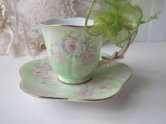 Vintage Pink Green Floral Demitasse Cup & Saucer by jenscloset, $12.50