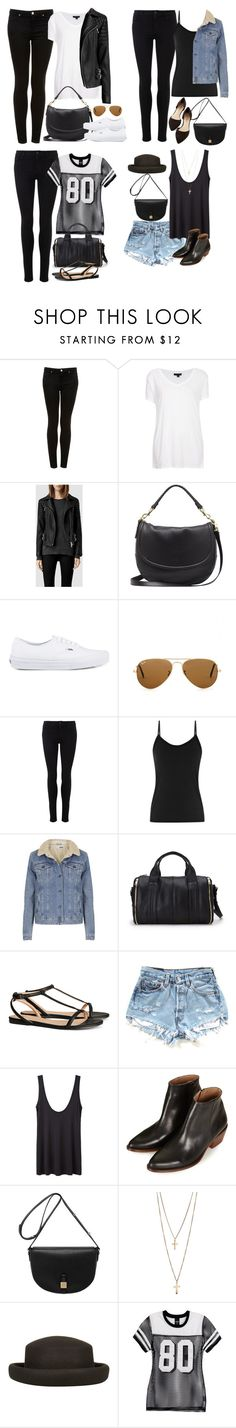 """Requested: concert outfits (with lots of black)"" by keisha-xo ❤ liked on Polyvore featuring Topshop, AllSaints, Mulberry, Vans, Ray-Ban, Reiss, Forever 21, H&M, The Row and Stussy"