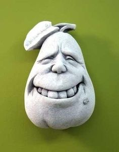 collcttible  plaque food | ... Collectible Toothy Grin Pear Plaque - Concrete Fruit Food Face