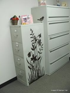 Love Vinyl!  Spiffing up a file cabinet using vinyl from http://expressionsvinylblog.com.  Such a great company!