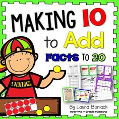 This unit provides extra practice and resources for making 10 to add facts to 20: making 10 to add, making 10 to add 9, and making 10 to add 8.  It includes posters, interactive notebook pages, printables, and games.  Here is whats included: Making 10 to AddThese resources help students understand how some facts can be solved by changing an equation into an equivalent fact with 10.