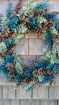 Pinecone Wreath Natural Brown Ocean Greens by scarletsmile