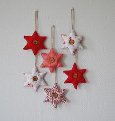 Christmas stars - fabric scraps and buttons