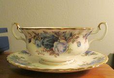 Royal Albert Moonlight Rose Cream Soup 2-handled Cup & Underplate England #RoyalAlbert
