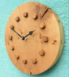 Round Rustic Oak Wall Clock