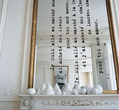 DIY idea for your mirror. Add a text. I am not crazy about this fireplace decor but I love the texted mirror! Mirror Text, Diy Mirror, Wall Mirrors, Sunburst Mirror, Painting Mirrors, Funky Mirrors, Mantle Mirror, Mirror Words, Mirror Ideas