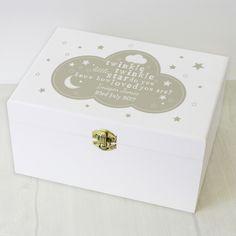Peronalised keepsake box, wooden box, nursery decor, gifts for babies, cloud nursery decor, baby gifts, twinkle twinkle box.