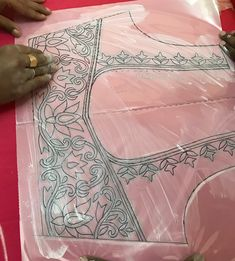Mridz's media content and analytics Tambour Embroidery, Hand Work Embroidery, Hand Embroidery Patterns, Cutwork Blouse Designs, Simple Blouse Designs, Paisley Stencil, Hand Work Blouse Design, Maggam Work Designs, Border Embroidery Designs