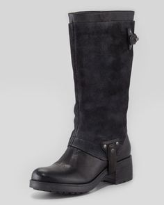 Essie Suede-Shaft Harness Boot, Black  by Vera Wang Lavender at Neiman Marcus. Vera Wang, Essie, Neiman Marcus, Sexy Heels, Black Boots, Riding Boots, Shoe Boots, Shoes Heels, Retail Therapy