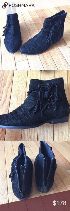 """NEW Free People Black Decades Ankle Boot 37 Textured distressed raw suede ankle booties featuring beautiful strap detailing throughout. Side ties with fringe accents. Back zip for an easy on/off. Stacked 1/2"""" heel. These are New without tags or box but may have a little wear on soles from trying on as shown. T12329 Free People Shoes Ankle Boots & Booties"""