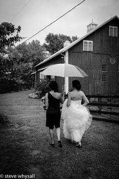 Bride Walking in the rain at Weatherlea Farm in Lovettsville, Virginia