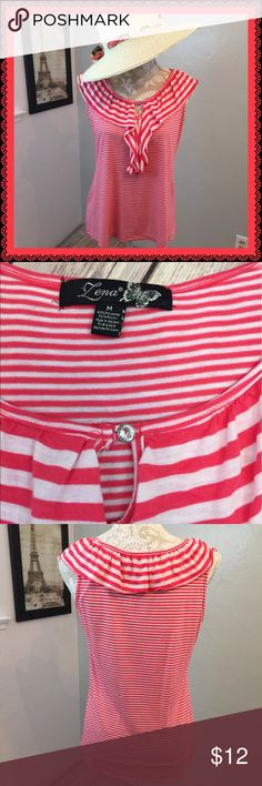 Pink & White Striped Summer Top This is a darling top paired with white capris, shorts or skirt. Lightweight tee shirt material, very comfortable. Color is a Salmon-ish bright pink. Size M but fits more like S. Lena Tops Tank Tops
