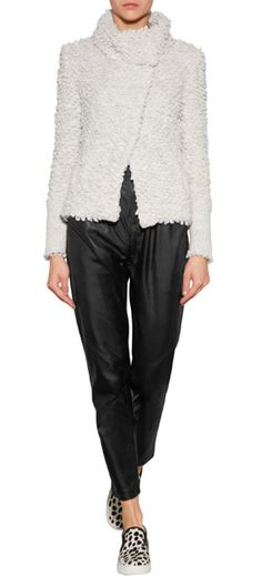 A+cozy+choice+packed+with+attitude,+this+textured+knit+jacket+from+Iro+features+desaturated+coloring+and+a+cool+stand-up+collar+#Stylebop