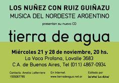 Tierra de Agua, Los Nuñez y Ruiz Guiñazú. Postal promocional para recital. Dorso. Diseño Carlos Carpintero.