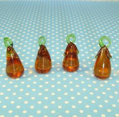 4 Glass Pear Charms Handmade Amber Brown Pears 3D Chunky Wine Charm Jewelry Supplies Bulk Beads Fruit Dangles Pendants Summer Jewelry Crafts