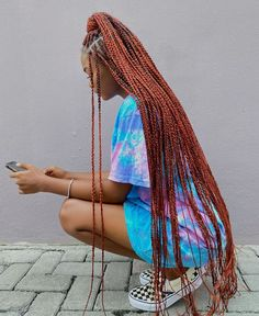 Half Updo for Long Small Box Braids Brown Box Braids, Colored Box Braids, Short Box Braids, Blonde Box Braids, Braids With Curls, Braids With Beads, Black Girl Braids, Braids For Black Hair, Braids With Color