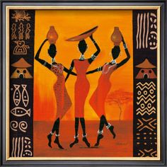 African American Art - Three Gatherers wall art by Izabella Dahlke available at Great BIG Canvas. Arte Tribal, Tribal Art, African Artwork, African Art Paintings, Abstract Paintings, Contemporary Paintings, Wal Art, African Quilts, African Theme
