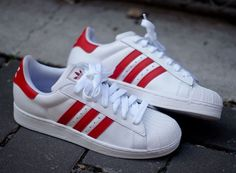 Adidas Originals Superstar 2 - White & Light Scarlet Red | KicksOnFire.com