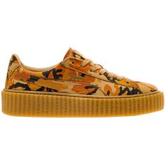 Rihanna x PUMA Suede Creeper Orange Camo Release Date - SBD ❤ liked on Polyvore featuring shoes, puma shoes, puma footwear, camo shoes, orange suede shoes and creeper shoes